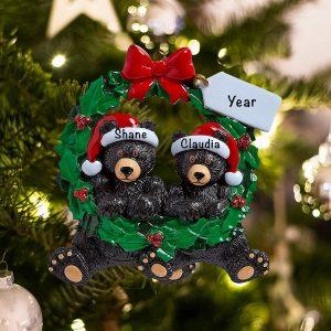 Personalized Black Bear Couple Wreath Christmas Ornament