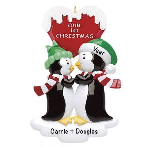 Penguin Kisses with words Personalized Christmas Ornament