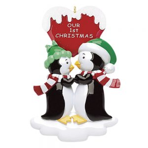 Penguin Kisses with words Personalized Christmas Ornament - Blank