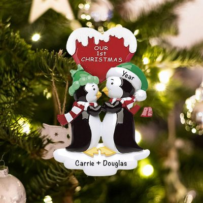 Personalized Penguin Kisses with Words Christmas Ornament