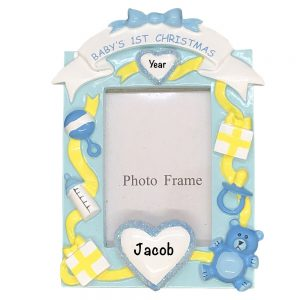 Baby's 1st Christmas Boy Photoframe Personalized Christmas Ornament