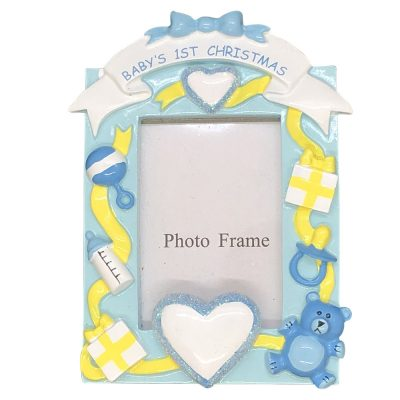 Baby's 1st Christmas Boy Photoframe Personalized Christmas Ornament - blank