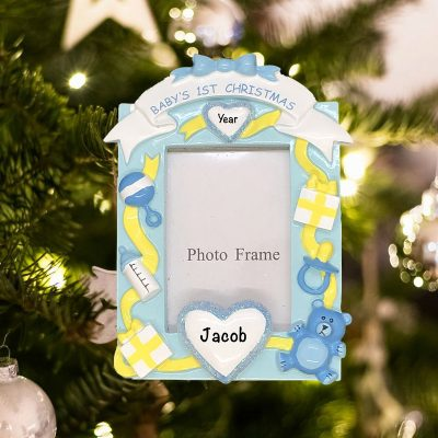 Personalized Babys First Christmas Boy Photoframe Christmas Ornament