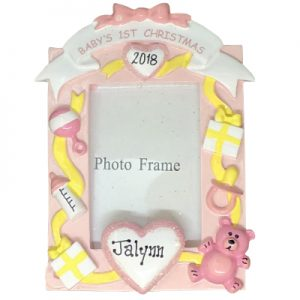 Pink Baby's 1st Christmas Picture Frame Personalized Ornament