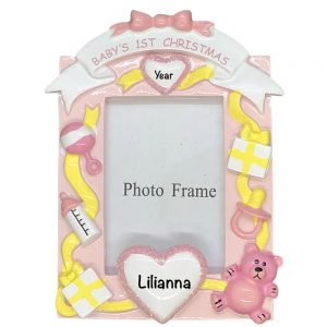 Baby's 1st Christmas Girls Photoframe Personalized Christmas Ornament