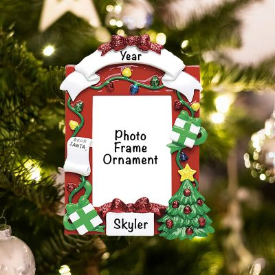 Personalized Red Frame Christmas Ornament