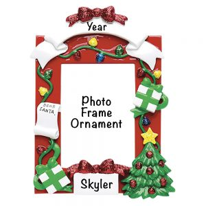 Red Photo Frame Personalized Christmas Ornament