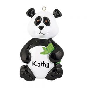 Panda Bamboo Personalized Christmas Ornament