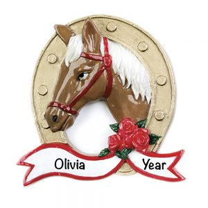 Horse with horseshoe Personalized Christmas Ornament
