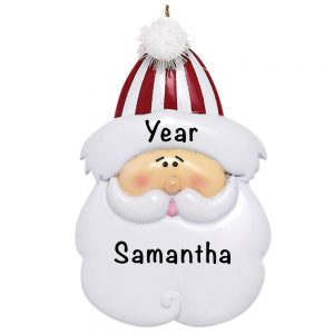 Traditional Santa Face Personalized Christmas Ornament