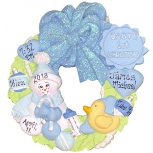 Blue Baby's 1st Christmas Wreath Personalized Ornament