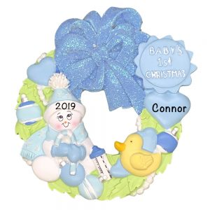 Baby's 1st Christmas Blue Wreath Personalized Christmas Ornament