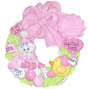 Pink Baby's 1st Christmas Wreath Personalized Ornament