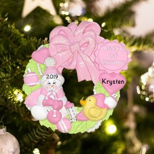 Personalized Pink Baby 1st Wreath Christmas Ornament