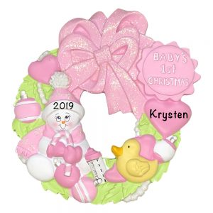 Baby's 1st Christmas Pink Wreath Personalized Christmas Ornament