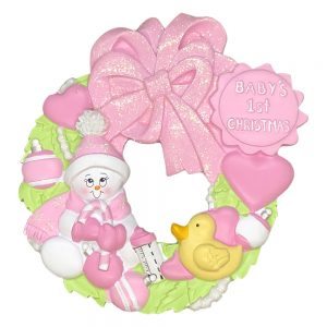 Baby's 1st Christmas Pink Wreath Personalized Christmas Ornament - Blank