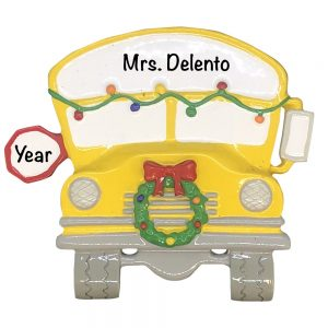 School Bus Personalized Christmas Ornament