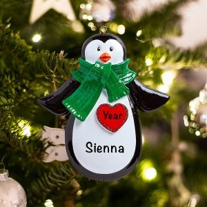Personalized Penguin Red Heart Christmas Ornament