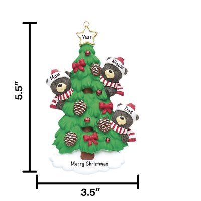 Black Bear Tree Family of 3 Personalized Christmas Ornament