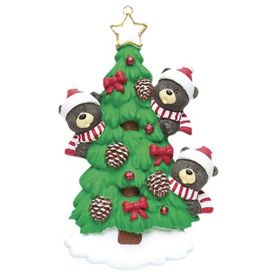 Black Bear Tree Family of 3 Personalized Christmas Ornament - Blank