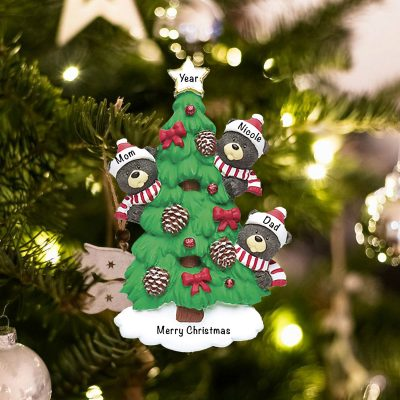 Personalized Black Bear Tree Family of 3 Christmas Ornament