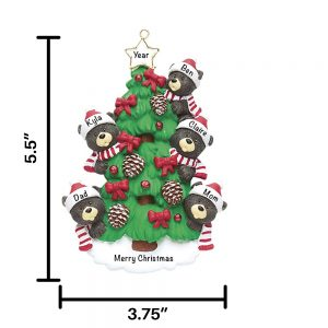Black Bear Tree Family of 5 Personalized Christmas Ornament