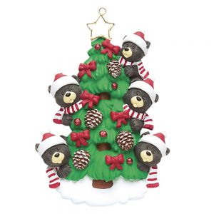 Black Bear Tree Family of 5 Personalized Christmas Ornament - Blank