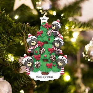 Personalized Black Bear Tree Family of 5 Christmas Ornament