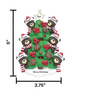 Black Bear Tree Family of 6 Personalized Christmas Ornament