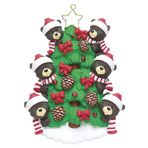 Black Bear Tree Family of 6 Personalized Christmas Ornament - Blank