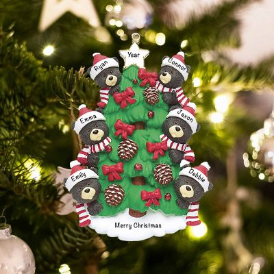 Personalized Black Bear Tree Family of 6 Christmas Ornament