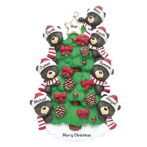 Black Bear Tree Family of 7 Personalized Christmas Ornament - Blank