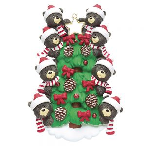 Black Bear Tree Family of 8 Personalized Christmas Ornament - Blank