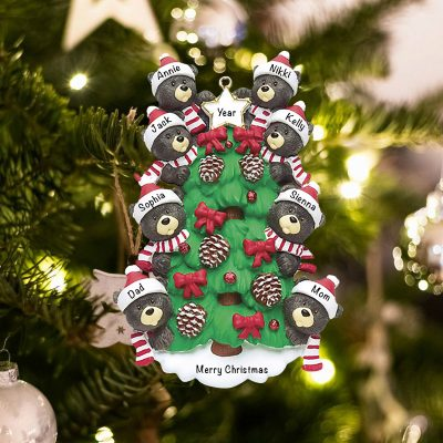 Personalized Black Bear Tree Family of 8 Christmas Ornament
