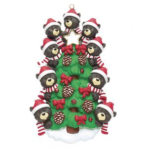 Black Bear Tree Family of 9 Personalized Christmas Ornament - Blank