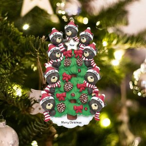 Personalized Black Bear Tree Family of 9 Christmas Ornament