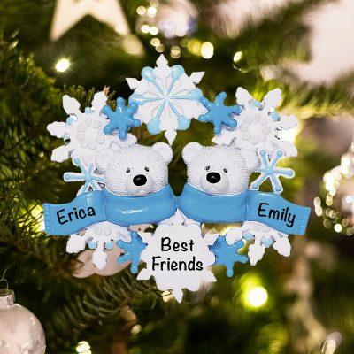 Personalized Polar Bear Family of 2 Christmas Ornament