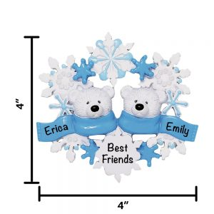 Polar Bear Couple Personalized Christmas Ornament