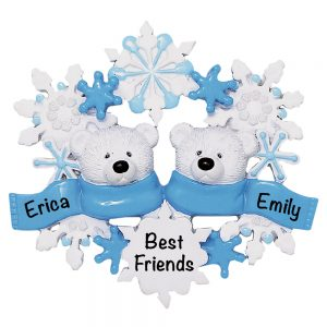 2 Polar Bear Scarf Couple Personalized Christmas Ornament
