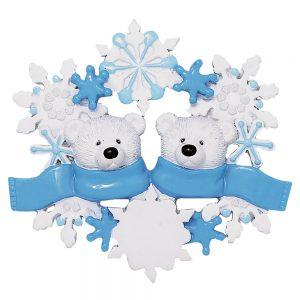 Polar Bear Scarf Couple Personalized Christmas Ornament - Blank