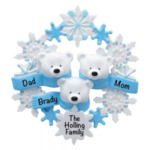 Polar Bear Scarf Family of 3 Personalized Christmas Ornament