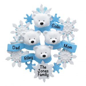 Polar Bear Scarf Family of 4 Personalized Christmas Ornament