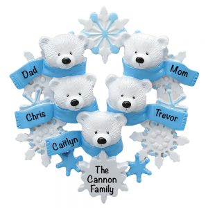Polar Bear Scarf Family of 5 Personalized Christmas Ornament