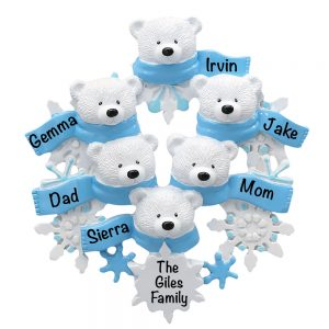 Polar Bear Scarf Famlly of 6 Personalized Christmas Ornament