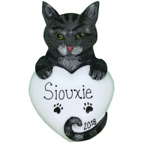 Gray Tabby Cat Personalized Ornament