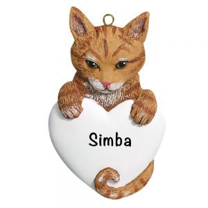 Orange Tabby Cat Personalized Christmas Ornament