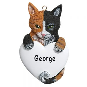 Calico Cat Personalized Christmas Ornament
