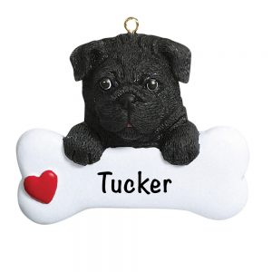 Black Pug Personalized Christmas Ornament