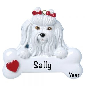 Maltese Personalized Christmas Ornament