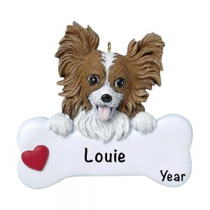 Papillion Personalized Christmas Ornament